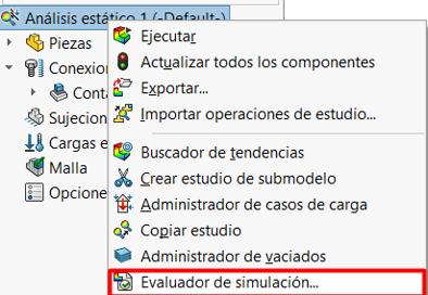 Seleccionar evaluador de simulacion en el arbol de operaciones