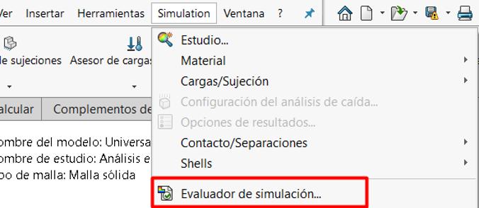 Seleccionar evaluador de simulacion desde opciones de simulacion